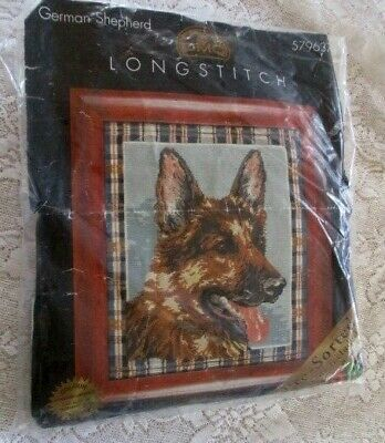 DMC TAPESTRY OR LONGSTITCH KIT *GERMAN SHEPHERD KIT#579637 - Worked Approx. 50%