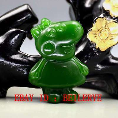 Chinese Natural Green Hetian Jasper Hand-Carved Pig Pecs Pendant BY56