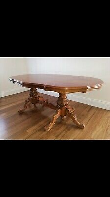 Vintage Antique Dining Table With Carved Legs