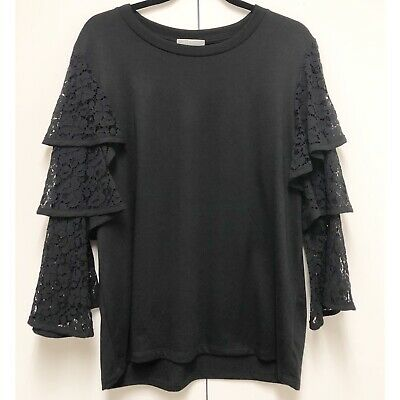 Pleione Extra Large XL Black Long Lace Tiered Trumpet Sleeve Women's Top