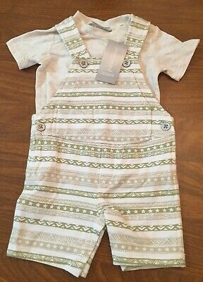 First Impressions Baby Boys' 2-Piece Tee & Shortalls Set. Size 0-3 Months. NWT