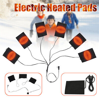 1/3/6PCS USB Electric Heating Pad 35℃-55℃ Adjustable Heated Jacket Vest Warmer