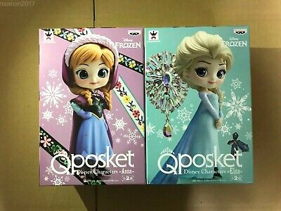 Q Posket Disney Characters Anna Elsa Figure Set BANPRESTO Qposket from Japan F/S