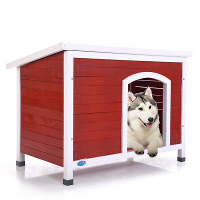 Home Outdoor Ground Wood Dog House Pet Shelter XL Kennel Weather Resistant Red