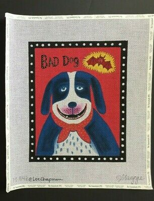"""Maggie Co./Lee Chapman Hand-painted Needlepoint Canvas """"Bad Dog"""" With Devil"""