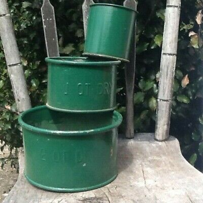 Early Primitive Lot of 3 Metal Dry Measures Old Green Paint 1800s Kitchenware