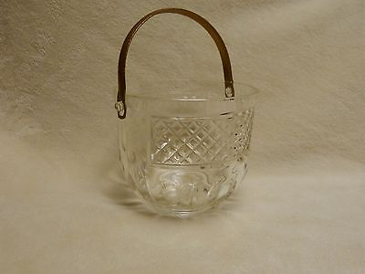 VINTAGE Pressed glass ice bucket, clear, waffle pattern, metal handle, nice