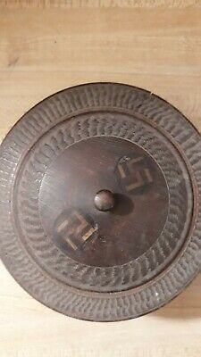 Antique Victorian Friendship Good Luck Swastika Wooden Bowl with Lid Signed 1914