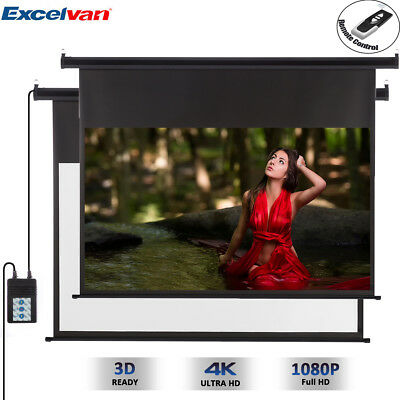 Electric Motorised 100'' 1080P HD Projector Projection Screen Conference Remote