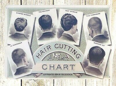 US SELLER- Hair Cutting Chart Barber Shop metal sign room collectible wall decor