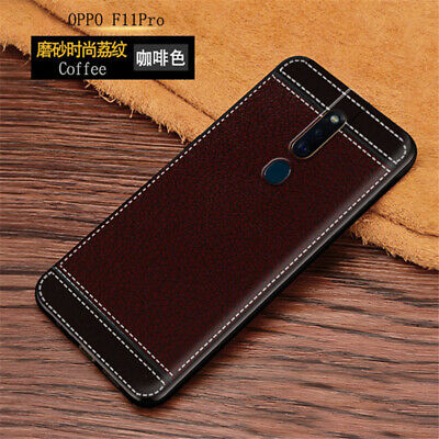For OPPO F11 Pro, Slim Shockproof Leather Pattern Soft TPU Back Skin Case Cover