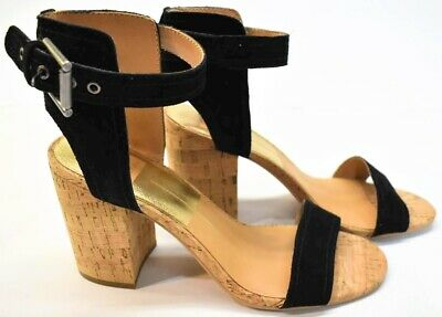 7561eaeb7e Anthropologie Dolce Vita Ankle Strap Cork Block Heel Faux Suede Sandals  Size 8