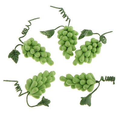 1/12 Scale Fruit Green Grape Dollhouse Miniature Kitchen Food 5pcs/pack