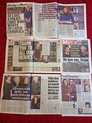 Kate Middleton Remembrance & More Meghan Markle UK Newspaper Clippings cuttings