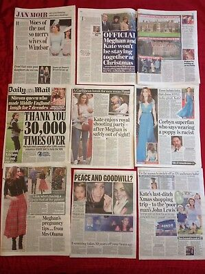 Kate Middleton X-mas Shop Meghan Markle Recent UK Newspaper Clippings cuttings