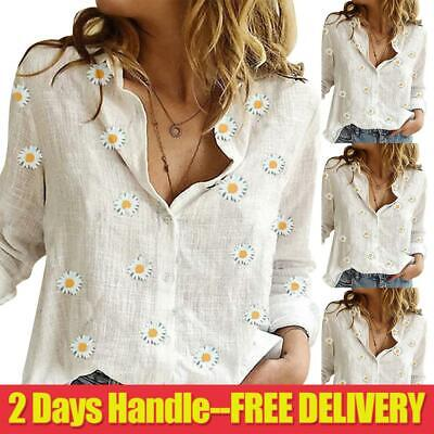 UK Womens V-Neck Sleeve Cotton Linen Casual OL Shirts Ladies Baggy Blouse Tops