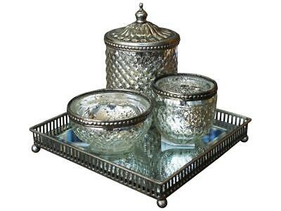 Ornate SILVER Mirrored PERFUME Jewellery TRAY Vanity French CANDLE Table SQUARE