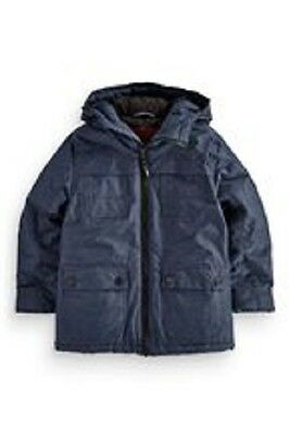 BNWT NEXT Boys Blue Padded Wadded Jacket Coat With Hood 10-11 Years RRP £35