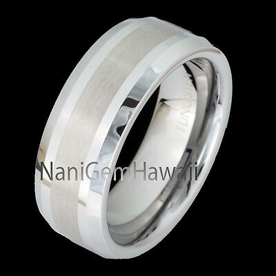 Tungsten 8mm Hawaiian Band Ring Brushed Beveled Edge ( Same Koa Wood Style)