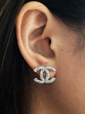 Stunning Chanel earrings Antique Stud Rare white gold CC Pierce ear studs