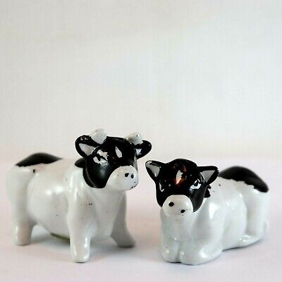 Cow Pair Salt and Pepper Shakers Black and White Collectable Tableware Ornament