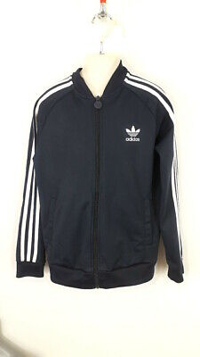 Boys Adidas Tracksuit Navy Blue Zip Up Sweater Size 11-12 Years Child