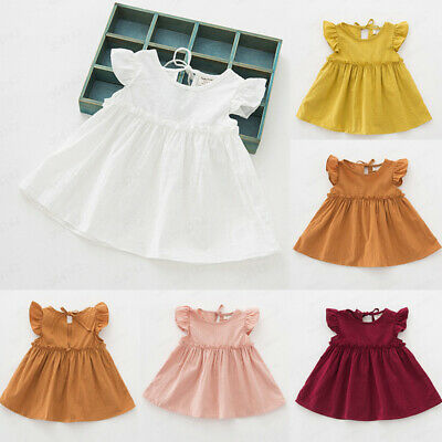Toddler Kids Baby Girl Ruffle Solid Linen Elegant Princess Party Dress Clothes A