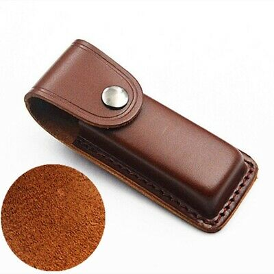 """Cowhide Leather Sheath Pocket Folding Knife Multi Tool Case Pouch 5"""" New"""