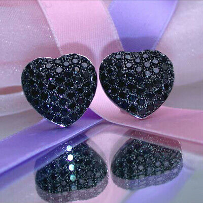 2.50 Ct Round Cut Black Diamond Heart Shape Stud Earrings 14k White Gold Finish