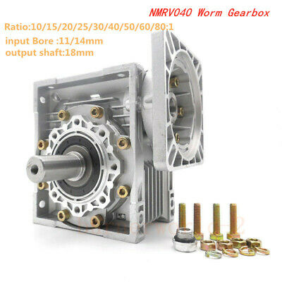 NMRV040 Worm Gear Reducer NEMA34 Input 14mm Ratio 10 20 25 50 80:1 Stepper Motor