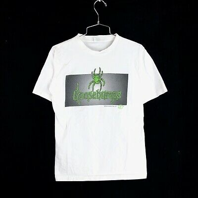 Vintage 90s Goosebumps T Shirt Youth XL White Champ Slappy Nostalgia RL STINE