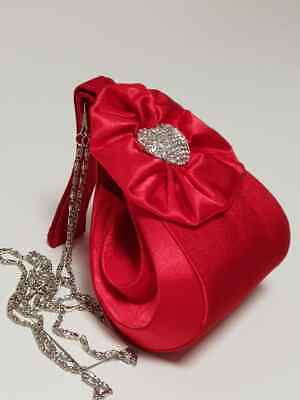 Girl's Hand Bag Wedding Formal Party Occasion Fancy Diamante Kids Basket B70 Red