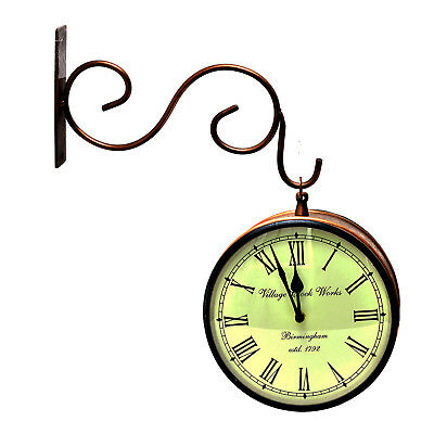 """Vintage Look Double Side Railway Station Clock 8"""" With Hand-Crafted Copper Work"""