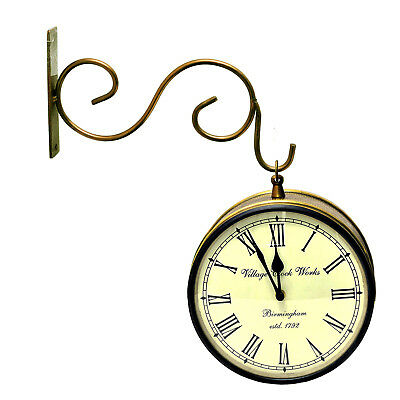 """Vintage Look Double Side Railway Station Clock 8"""" With Hand-Crafted Brass Work"""