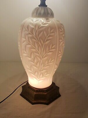Antique Consolidated Phoenix co Blue tinted Carnival milk glass White greek Lamp
