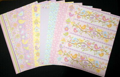 A4 Patterned Papers ~BIRDS-BUTTERFLIES-FLOWERS  x 10 ~ Scrapbooking/Cardmaking