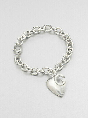 e070b7e913d NWT Gucci 1973 Collection sterling silver logo heart charm link chain  bracelet