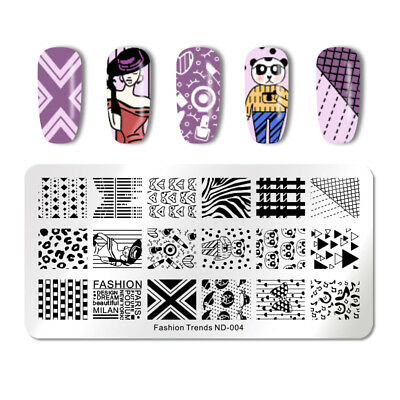 NICOLE DIARY Nail Stamp Template Geometry Nail Art Stamping Template Decoration