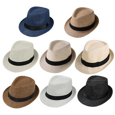 Children Kids Summer Beach Straw Hat Fedora Hat Outdoor Hats Boys Girls Sunhat