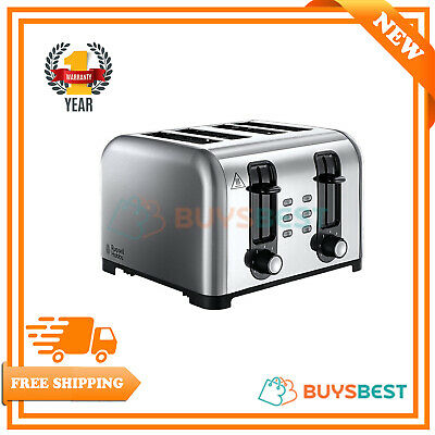 Russell Hobbs Brushed&Polished Stainless Steel 4-Slice Wide Slot Toaster -23540