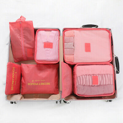 7Pcs/Set Travel Storage Bag Cubes Pouches Luggage Organiser Clothes Suitcase Bag