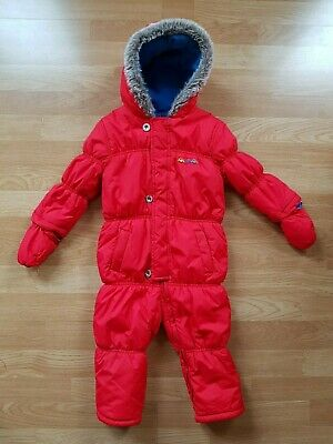 Unisex Toddler Mothercare Red Hooded Snowsuit Age 18-24 Months Hardly Worn