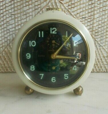 Vintage JUNGHANS HIPPO REPETITION ALARM CLOCK cream GERMANY 50s 60s mid century