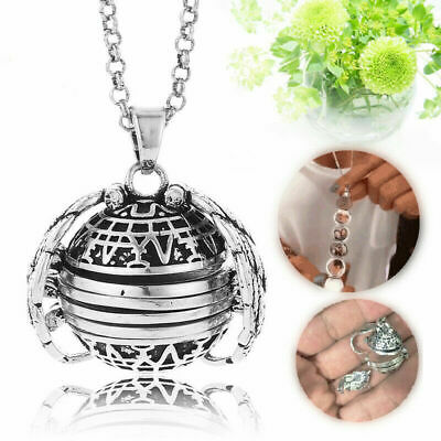 Expanding Photo Locket Necklace Silver Ball Angel Wing Pendant Memorial Gift SH