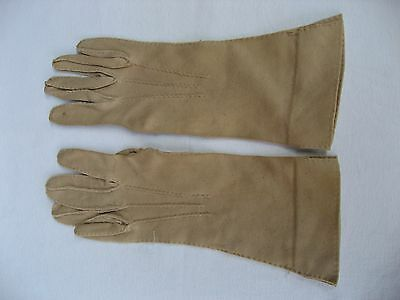 "Cornelia James long (10.5"") taupe cotton hand stitched gloves. Size 6 1/2 (#14)"