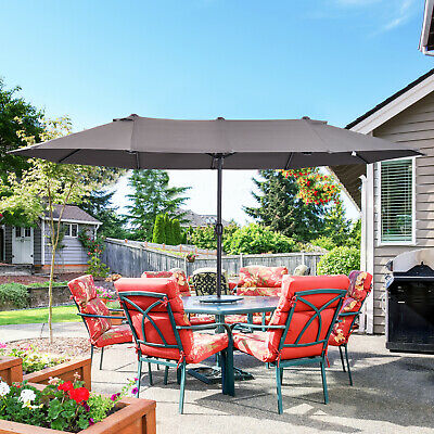 Outsunny 4.6m Double-Sided Patio Umbrella Parasol Sun Shelter Canopy Shade