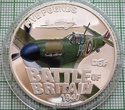 GUERNSEY 2010 5 POUNDS BATTLE OF BRITAIN 70th ANNIVERSARY, COLOURED SILVER PROOF