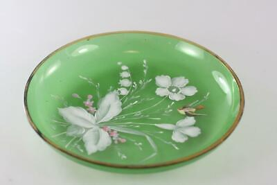 ANTIQUE 19th century HAND PAINTED GREEN GLASS PLATE