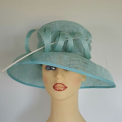 46f739599cb7d Ladies Wedding Hat Races Mother Bride Ascot Pale Turquoise Blue Loops by  GOLD