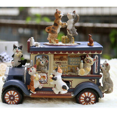 Wooden Small Cat Car Music Box Resin, Birthday Gift for Kids and Friends
